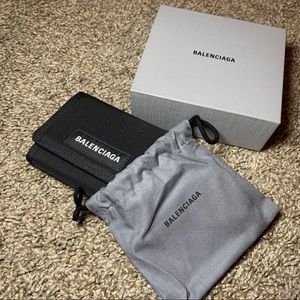 Balenciaga black nylon wallet